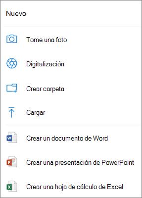 Cargar en OneDrive