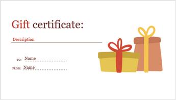 Imagen de una plantilla de certificado de regalo por festividad personalizable.