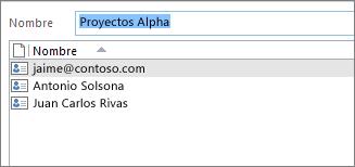 Al hacer doble clic en el grupo de contactos se abre la lista de miembros