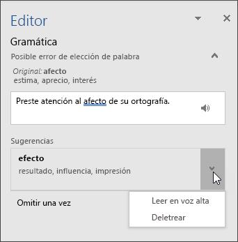 Panel de tareas del Editor para la gramática