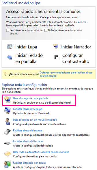 Centro de accesibilidad de Windows