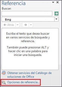 Captura de pantalla del panel de tareas Referencia con el vínculo Opciones de referencia (cerca de la parte inferior del panel) resaltado