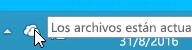 Captura de pantalla que muestra el icono blanco de OneDrive en Windows 8.1.