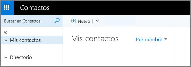 Una imagen del aspecto de la página Contactos en Outlook Web App