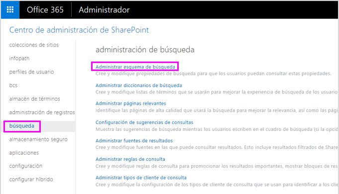 Página de administración de búsqueda en el Centro de administración de SharePoint