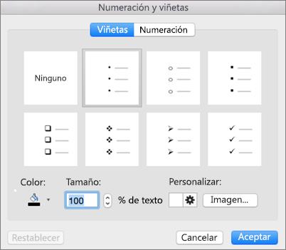 Cuadro de diálogo Numeración y viñetas de Office para Mac