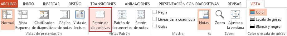 La opción del patrón de diapositivas está en la pestaña Ver.