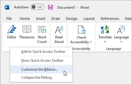 Seleccione Personalizar cinta de opciones