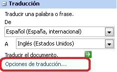 Opciones de traducción