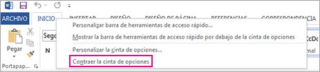 Contraer el comando de la cinta de opciones después de hacer clic con el botón secundario en una pestaña de la cinta en Word 2013