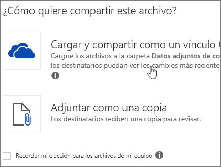 Captura de pantalla del cuadro de diálogo Datos adjuntos que muestra la opción Cargar y adjuntar como un archivo de OneDrive.