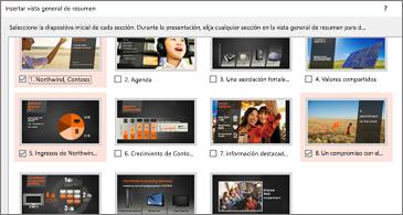 Una vista de resumen de todas las diapositivas de una presentación. Tres están seleccionadas.