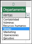 Lista de departamentos