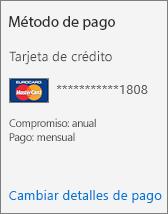 """Captura de pantalla de la sección """"Método de pago"""" de una tarjeta de suscripción para una suscripción que se paga mediante tarjeta de crédito."""