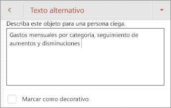 Texto alternativo para una tabla en PowerPoint para Android.