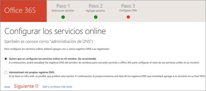 Configurar servicios en línea