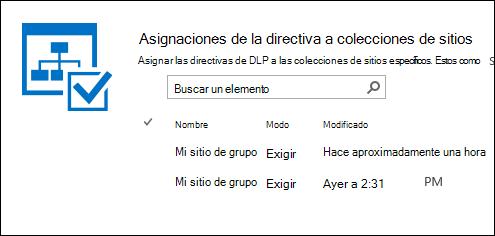 Asignaciones de directivas para colecciones de sitios