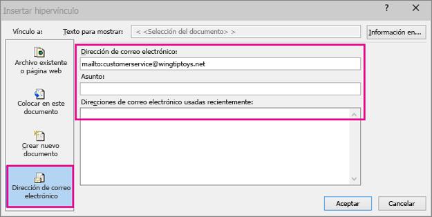 Muestra el cuadro de diálogo en el que la opción de insertar un vínculo a un correo electrónico está seleccionada
