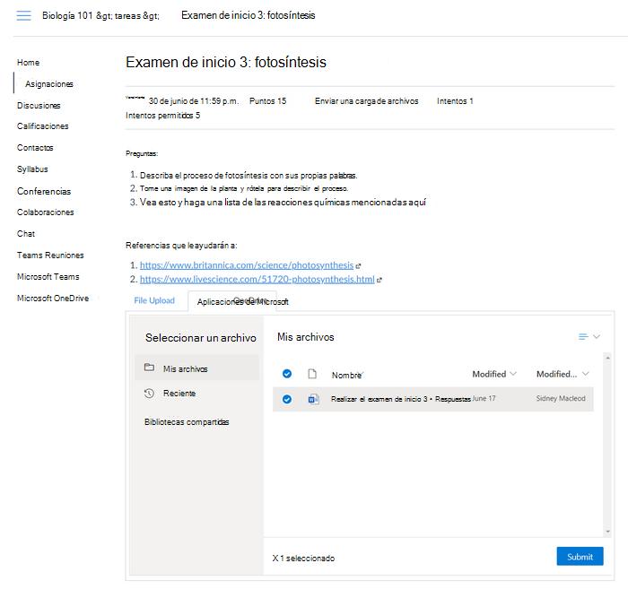 Pestaña Tareas para Elegir un archivo con OneDrive pestaña resaltada