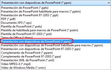 """La lista de tipos de archivo en PowerPoint incluye """"Presentación de PowerPoint (.ppsx)"""""""