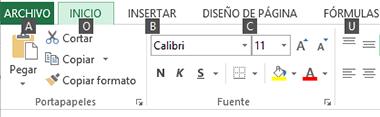 Consejos sobre teclas de la cinta para Excel 2013