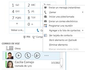 Captura de pantalla para revisar correo de voz en Lync
