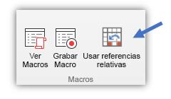 """captura de pantalla que muestra el botón """"Usar referencias relativas"""""""