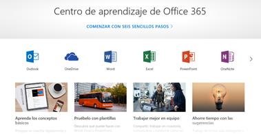 Página principal del Centro de aprendizaje de Office con iconos para las distintas aplicaciones de Office y mosaicos de los tipos de contenido disponibles