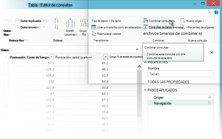 Combinar consultas en Power Query
