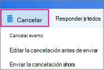 Opciones de cancelación de reunión