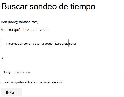 Ejemplo de una encuesta de que el organizador requiere autenticación para votar.