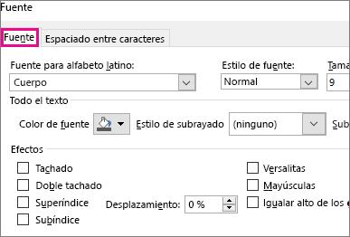 Cuadro de diálogo Fuente en Excel