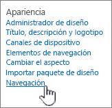 Aspecto de la configuración y funcionamiento de la navegación seleccionada