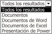 Opciones de resultados que incluyen Todos los resultados, Documentos, Documentos de Word, Documentos de Excel y Presentaciones de PowerPoint