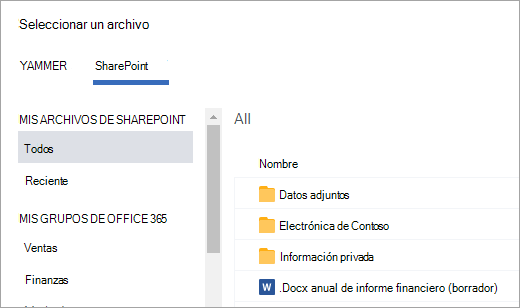 Lista de archivos de SharePoint