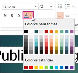 Seleccione un color para el texto.