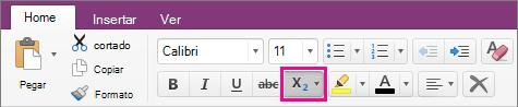 Haga clic en el botón superíndice y subíndice para realizar una opción