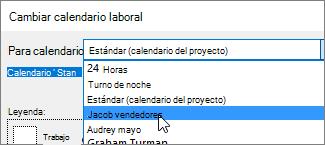Recursos en la lista de calendarios