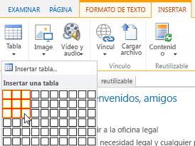 Insertar una tabla en un sitio web público de SharePoint Online
