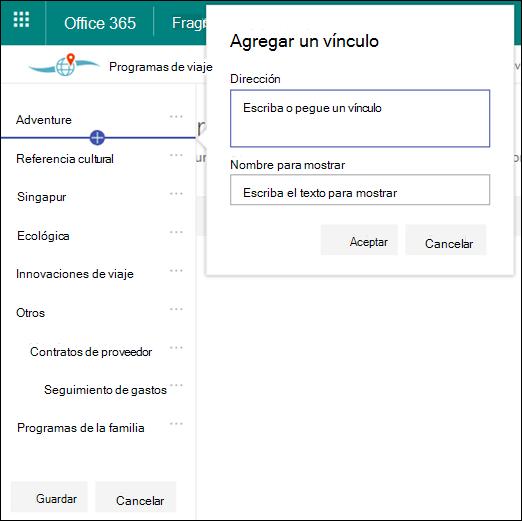 Editar navegación de Hub de SharePoint