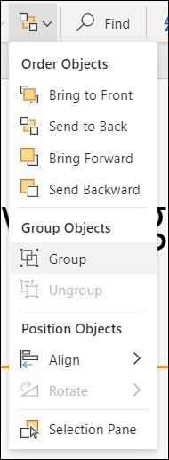 Menú Organizar que muestra objetos de grupo