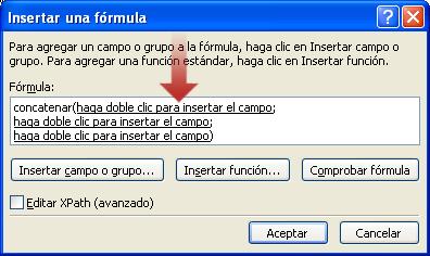 Haga doble clic para insertar el primer campo para usarlo como parte del nombre del formulario
