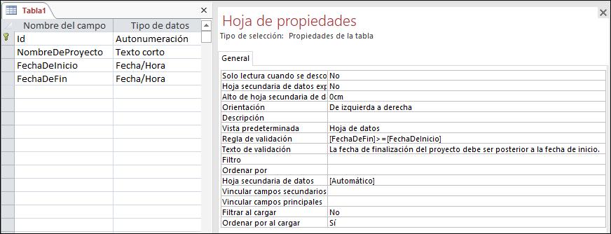 Una regla de validación de tabla del Diseñador de tablas de Access.