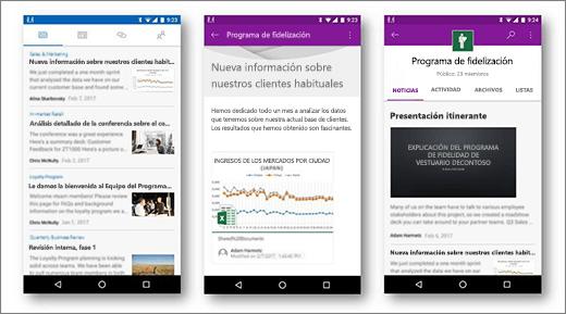 Noticias de SharePoint en un dispositivo móvil Android