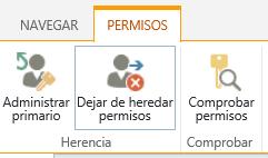 El control de permisos de lista/biblioteca que muestra el botón detener la herencia de permisos