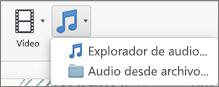 Menú Insertar audio con las opciones de audio desde archivo y el explorador de audio