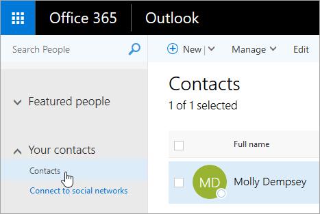 Captura de pantalla del cursor sobre el botón Contactos en la página Personas.