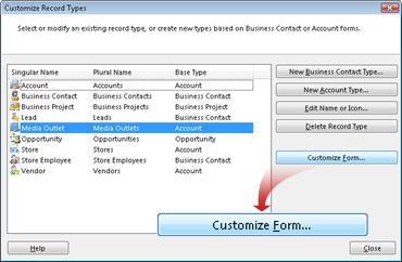 Cuadro de diálogo para personalizar los registros existentes o crear uno nuevo