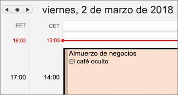 Versión detallada del calendario con dos zonas horarias diferentes a la izquierda