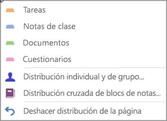 Menú desplegable Distribuir páginas con tareas, Notas de clase, Documentos, Cuestionarios, Distribución individual y de grupos, Distribución cruzada de blocs de notas y Deshacer distribución de páginas.